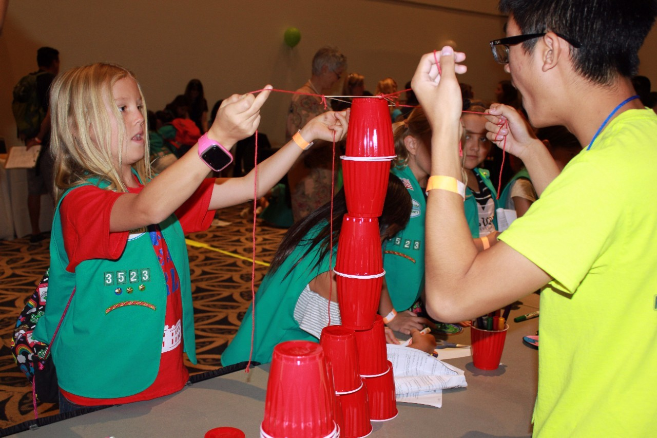 Girl Scout Junior Participates in STEMup4Youth tower building