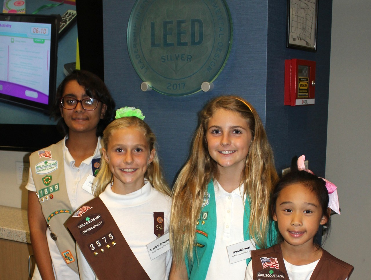 OC Girl Scout Artists Who Illustrated Educational Signs at the GSLC - Astha Parmar, Scarlett Schmitt, Ava Schmitt, Kayla Teng